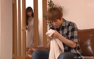 Handsome Japanese model gets her puss pounded on the leather sofa