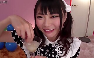 Airi Natsume Looking Blue A In Maid Vestment Resuscitation Cum From A Glass