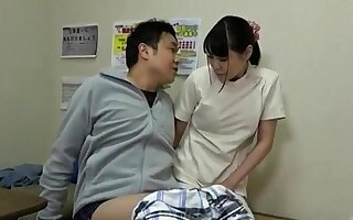 Busty asian Gaia gives handjob in chum around with annoy massage room