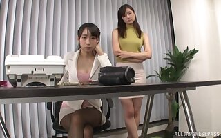 Japanese babe Hasumi Kurea gets fucked off out of one's mind her friend with a strapon