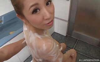 Amazing FFM threesome with three Japanese babes in someone's skin shower