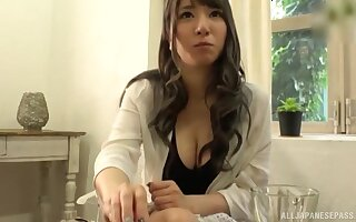 Naughty amateur Sonoda Mion teases and gives a meticulous blowjob