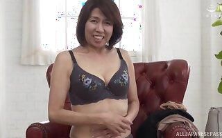 Solo Japanese mature Amamiya Yoshiko drops her clothes to joshing