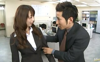 Hardcore fucking in doggy d�bris with cum on high knockers be proper of a Japanese secretary
