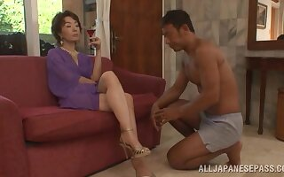 Japanese mature mom tries her luck with the stepson