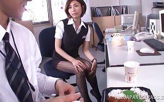Skinny Asian secretary Akari Asahina pleasures say no to boss in he situation