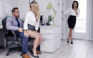 Supervisor have three-way intercourse with workers