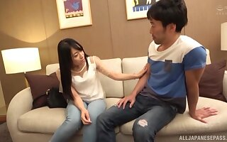 Gorgeous Japanese moves her sexy panties for friend's hard dick