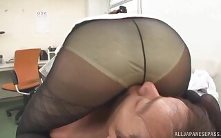 Kinky Japanese secretary teases and gives a BJ to her horny boss