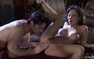 sexy asian Asa Akira ramming a fat friend's penis on the floor