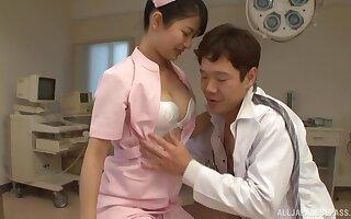 Passionate kissing leads to fucking with nurse Aoi Mizutani