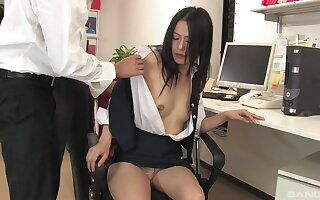 Mai Mizusawa enjoys a threesome in the office with horny dudes