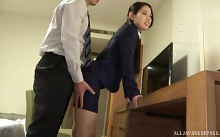 standing doggy style after amazing blowjob is Komori Anna's wish