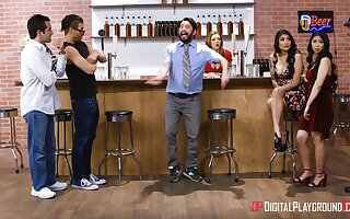 Threesome fucking in the bar with Jade Kush and Brenna Sparks
