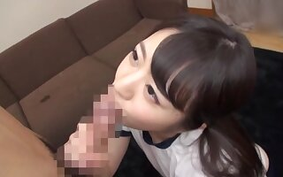 Excellent blowjob from a shy Japanese schoolgirl