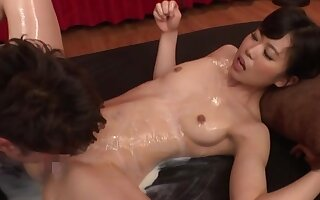 Full Japanese hardcore for her soapy pussy and ass