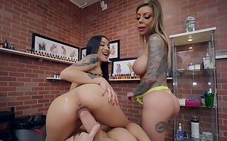 Tattoo parlor POV threeway fuck featuring Karma Rx and Avery Black