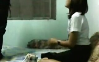 Voyeur sextape with a shy nerdy asian girl
