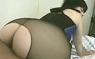 Hot big Asian ass in nylon pantyhose handling pounding