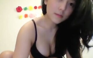 Cute Asian Enjoys Showing Her Round Perky Boobs To The View