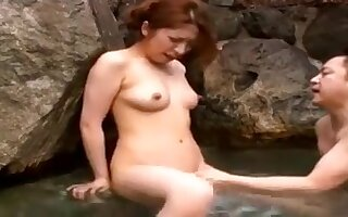 Japanese Cute Seduced For Sex By Old Man Hard Cock In Public Bath