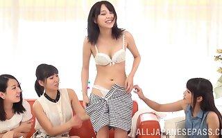 Horny Japanese babes make Ayaka Tomoda drop her clothes. HD